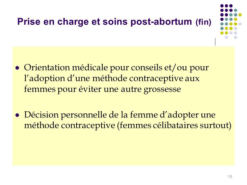 Prise en charge et soins post-abortum (fin)