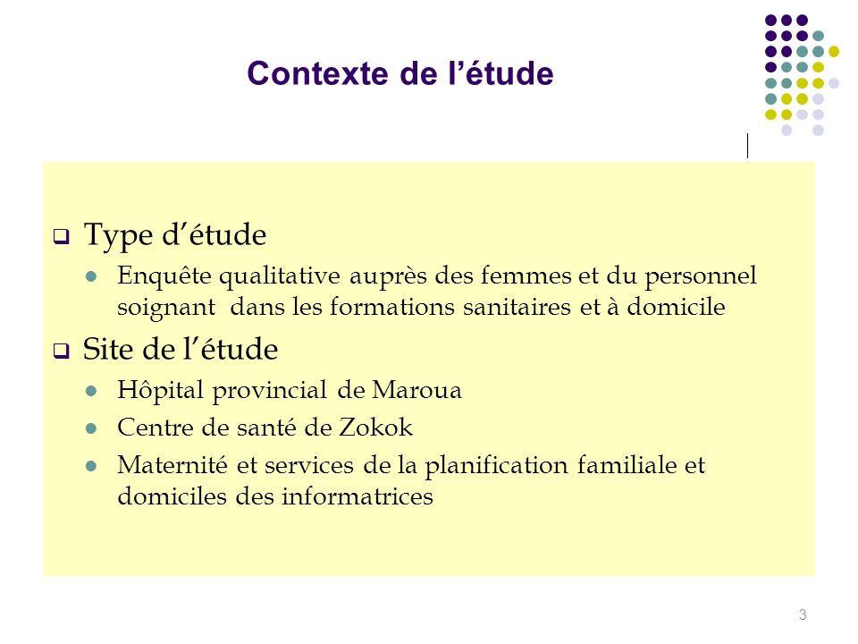 Contexte de l'étude Type d'étude Site de l'étude