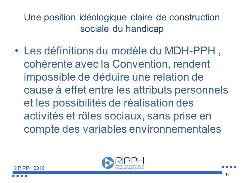 Une position idéologique claire de construction sociale du handicap