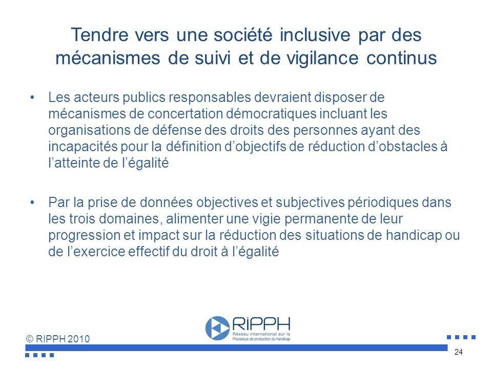 Tendre vers une société inclusive par des mécanismes de suivi et de vigilance continus
