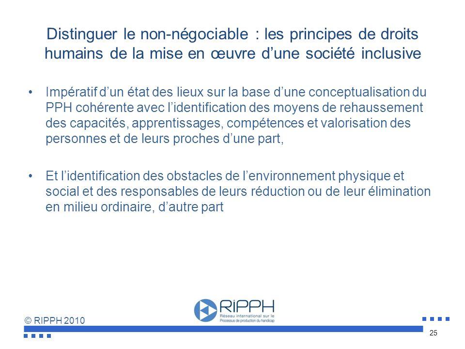 Distinguer le non-négociable : les principes de droits humains de la mise en œuvre d'une société inclusive