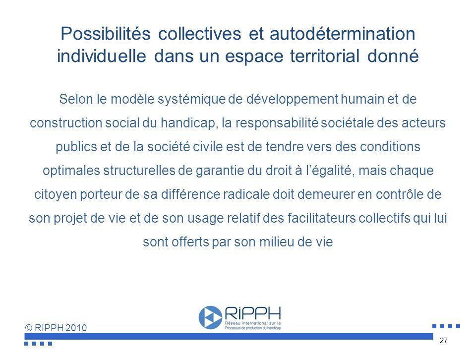 Possibilités collectives et autodétermination individuelle dans un espace territorial donné