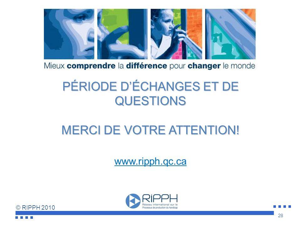 PÉRIODE D'ÉCHANGES ET DE QUESTIONS MERCI DE VOTRE ATTENTION!