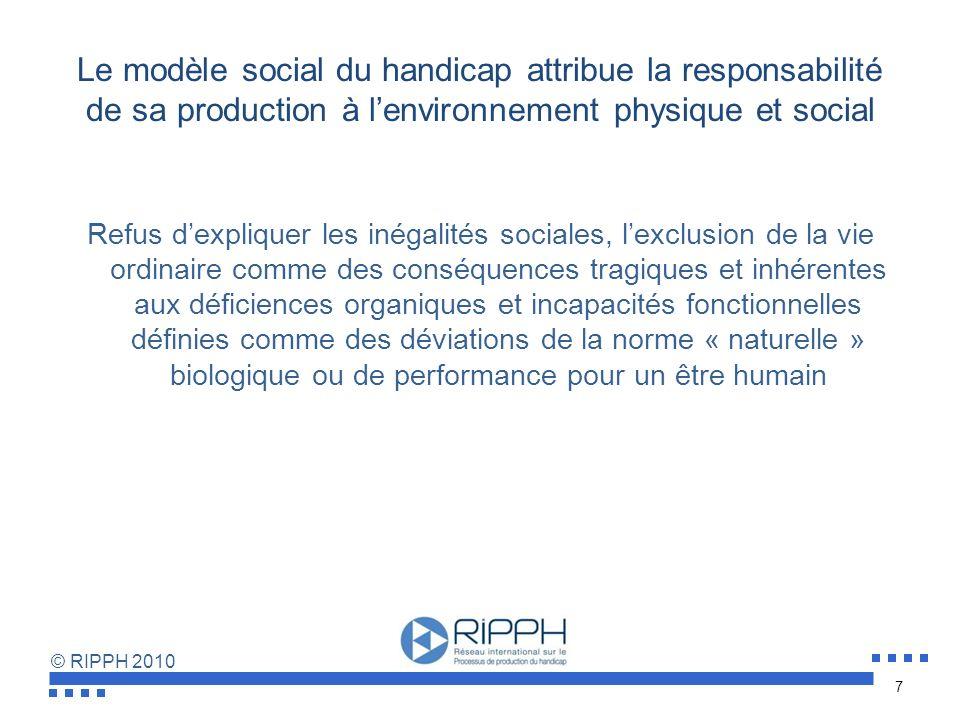 Le modèle social du handicap attribue la responsabilité de sa production à l'environnement physique et social