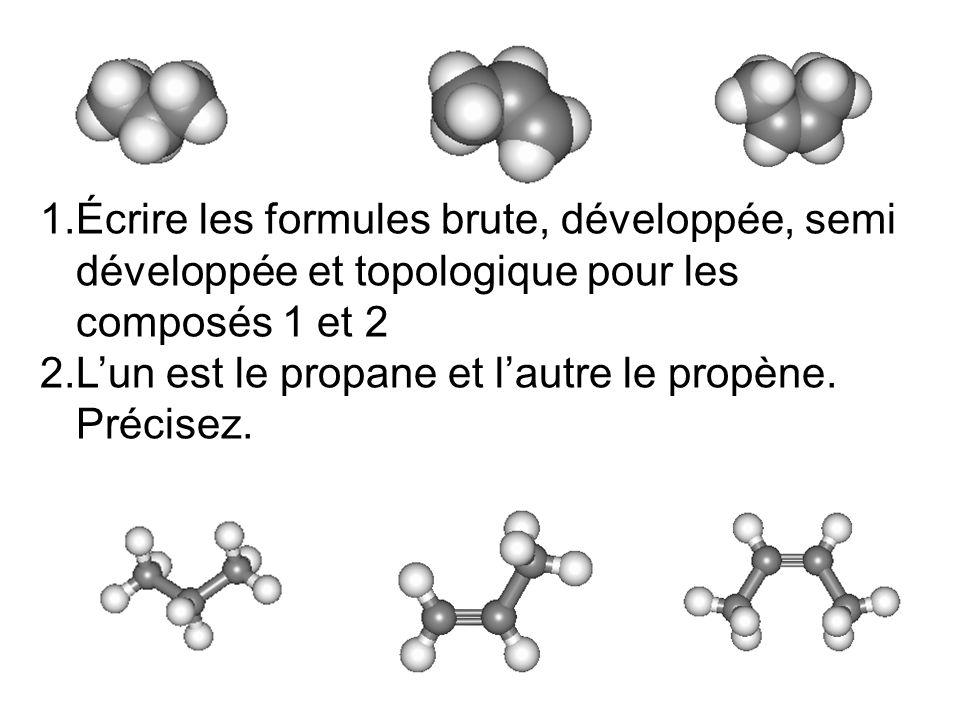 Écrire les formules brute, développée, semi développée et topologique pour les composés 1 et 2