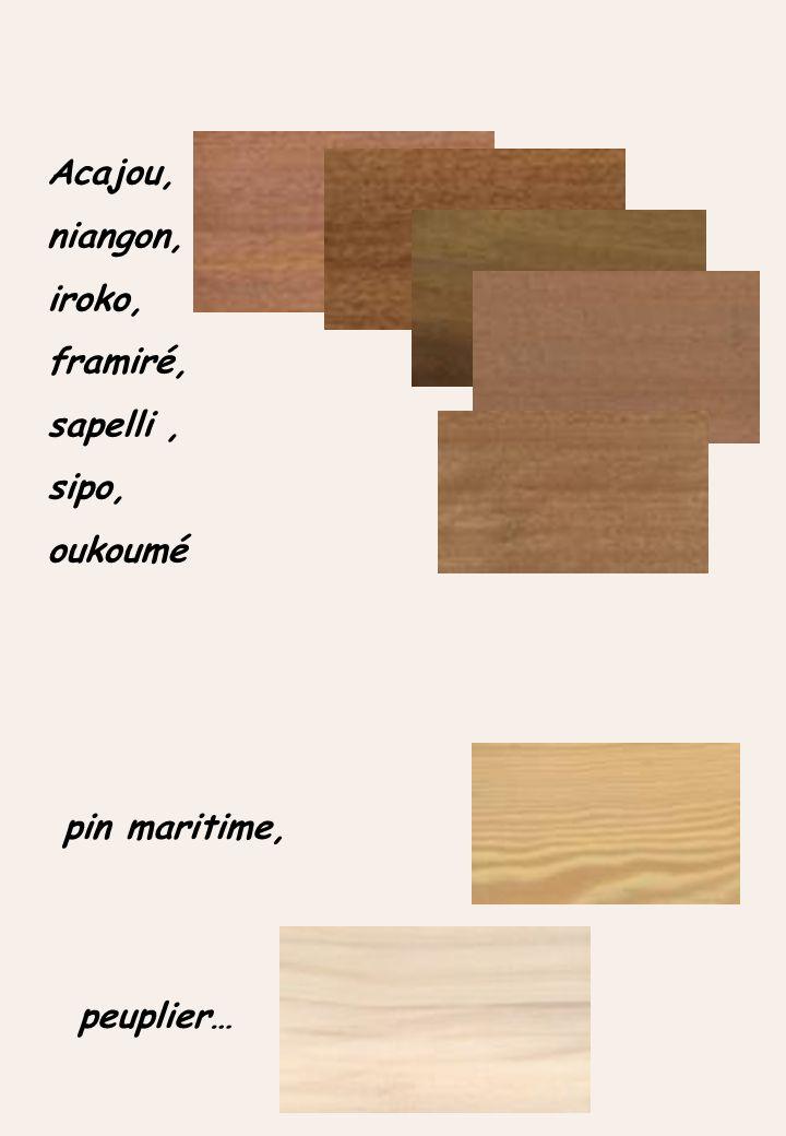 Acajou, niangon, iroko, framiré, sapelli , sipo, oukoumé pin maritime, peuplier…