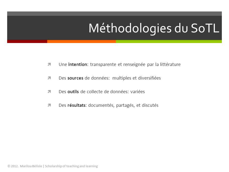 Méthodologies du SoTL Une intention: transparente et renseignée par la littérature. Des sources de données: multiples et diversifiées.