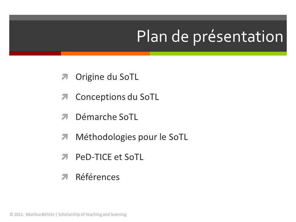 Plan de présentation Origine du SoTL Conceptions du SoTL Démarche SoTL