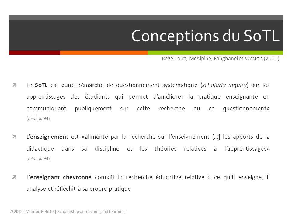 Conceptions du SoTL Rege Colet, McAlpine, Fanghanel et Weston (2011)