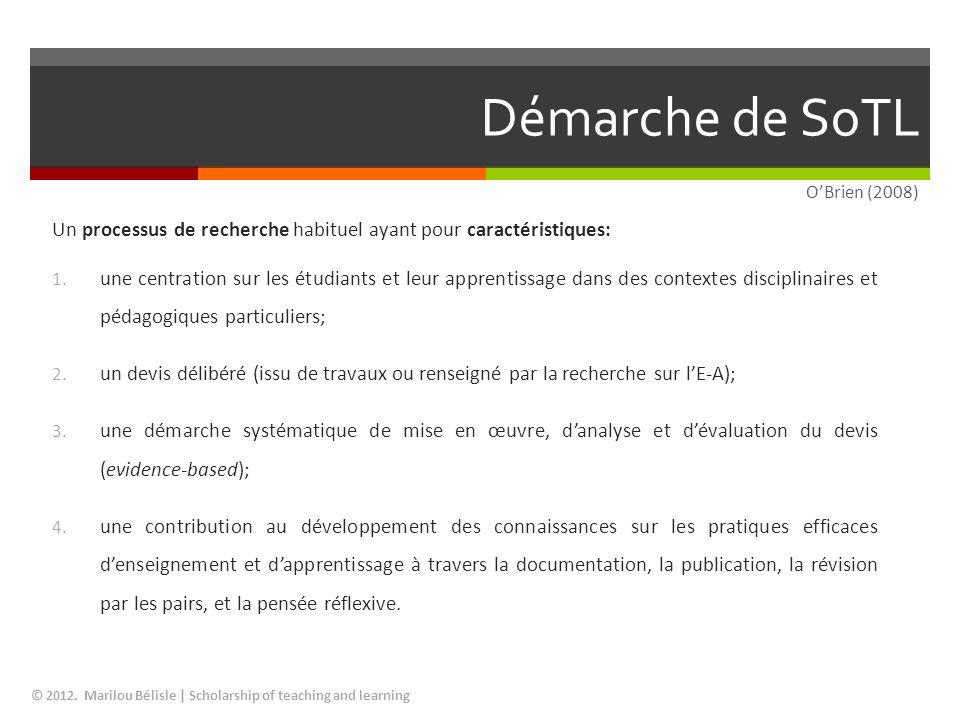 Démarche de SoTL O'Brien (2008) Un processus de recherche habituel ayant pour caractéristiques: