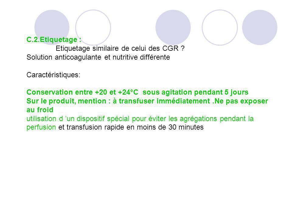 C.2.Etiquetage : Etiquetage similaire de celui des CGR Solution anticoagulante et nutritive différente.
