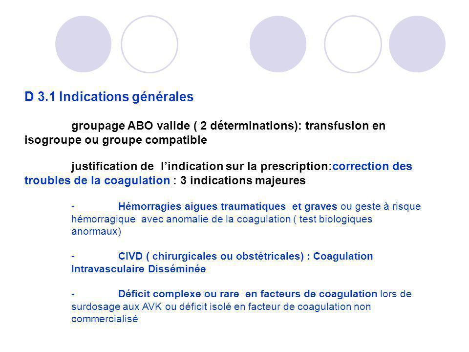 D 3.1 Indications générales