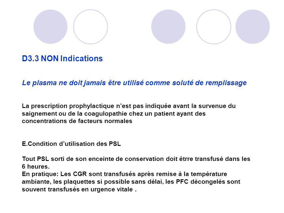 D3.3 NON Indications Le plasma ne doit jamais être utilisé comme soluté de remplissage.