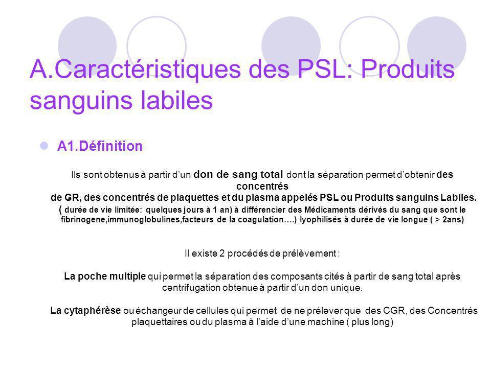 A.Caractéristiques des PSL: Produits sanguins labiles