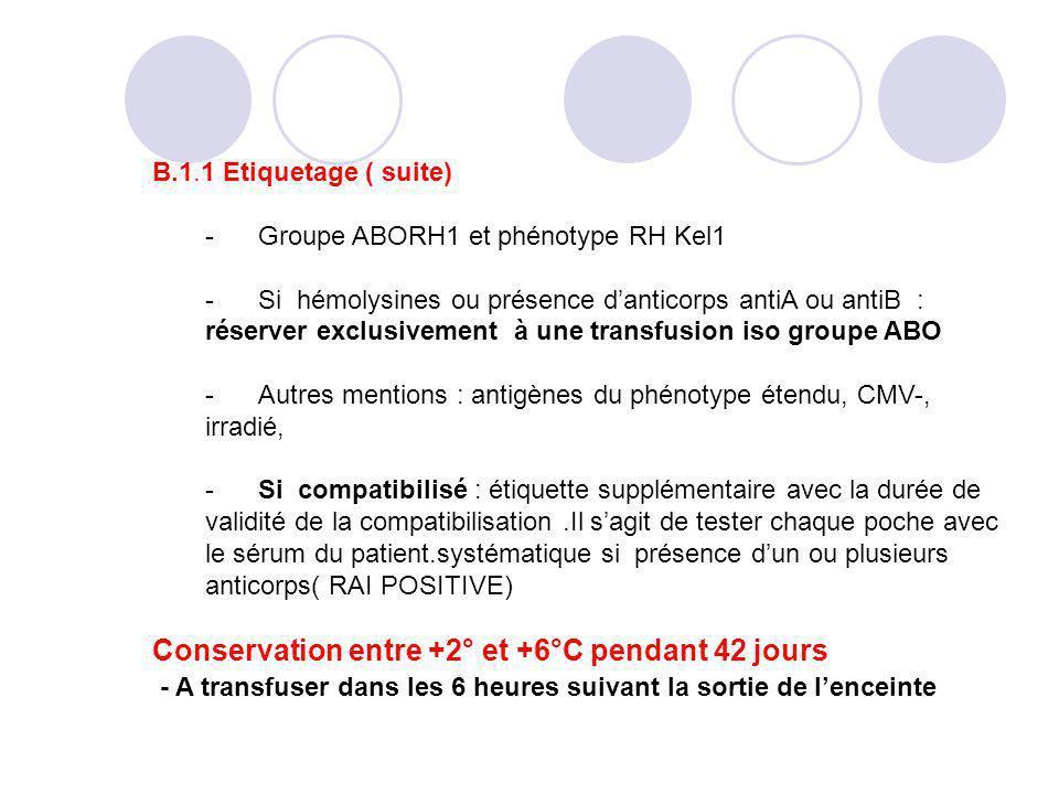 Conservation entre +2° et +6°C pendant 42 jours