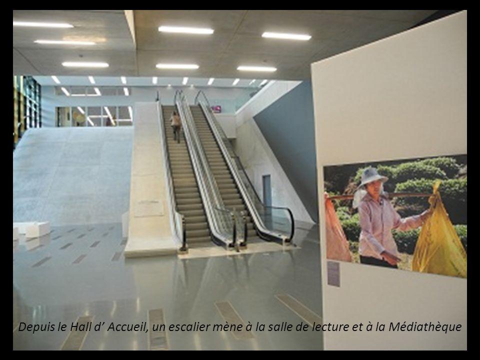 Depuis le Hall d' Accueil, un escalier mène a la salle de lecture et, à la Médiathèque