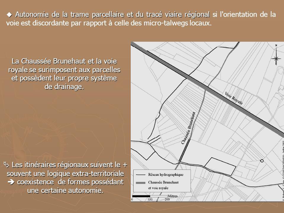 Autonomie de la trame parcellaire et du tracé viaire régional si l orientation de la voie est discordante par rapport à celle des micro-talwegs locaux.