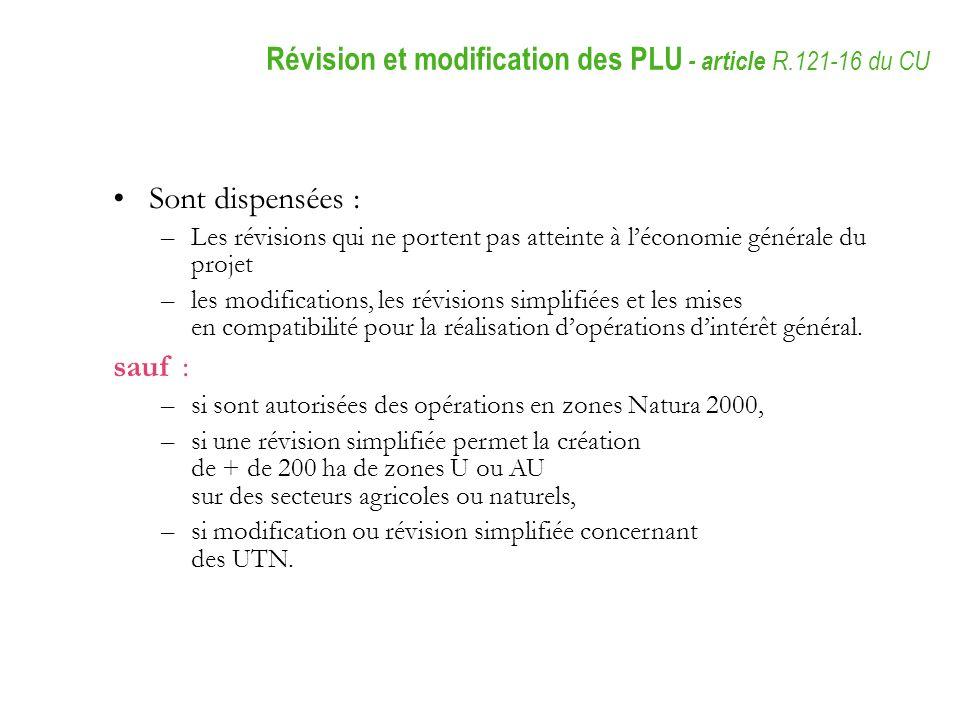 Révision et modification des PLU - article R.121-16 du CU
