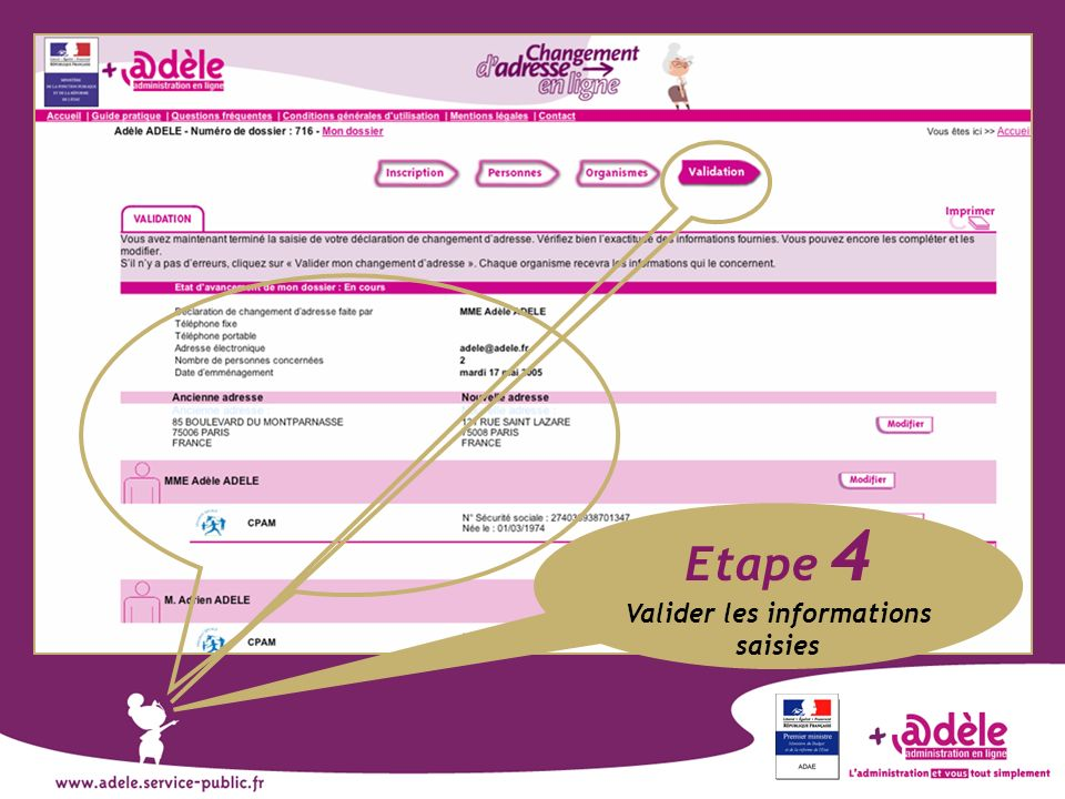 Valider les informations saisies