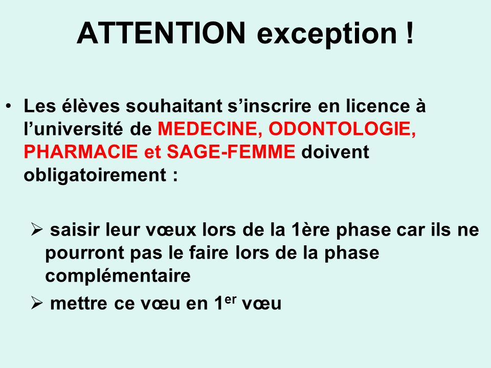 ATTENTION exception !