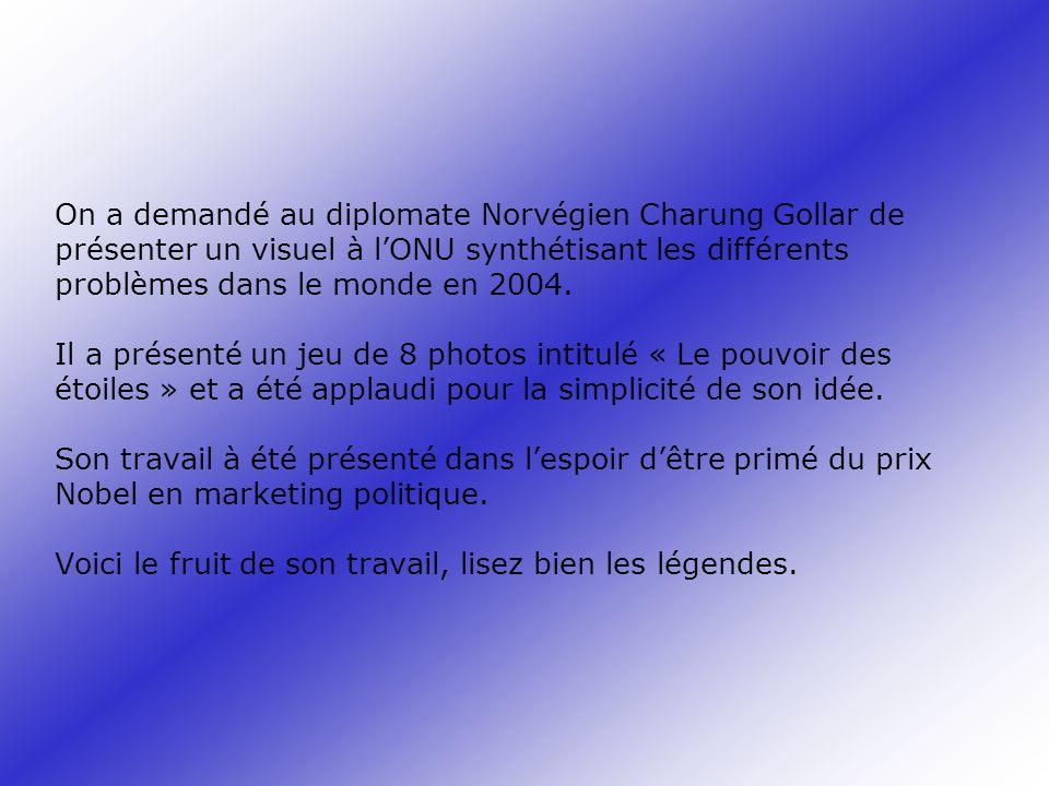 On a demandé au diplomate Norvégien Charung Gollar de présenter un visuel à l'ONU synthétisant les différents problèmes dans le monde en 2004.
