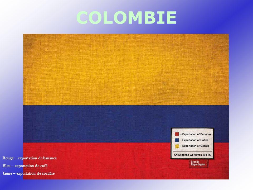 COLOMBIE Rouge – exportation de bananes Bleu – exportation de café