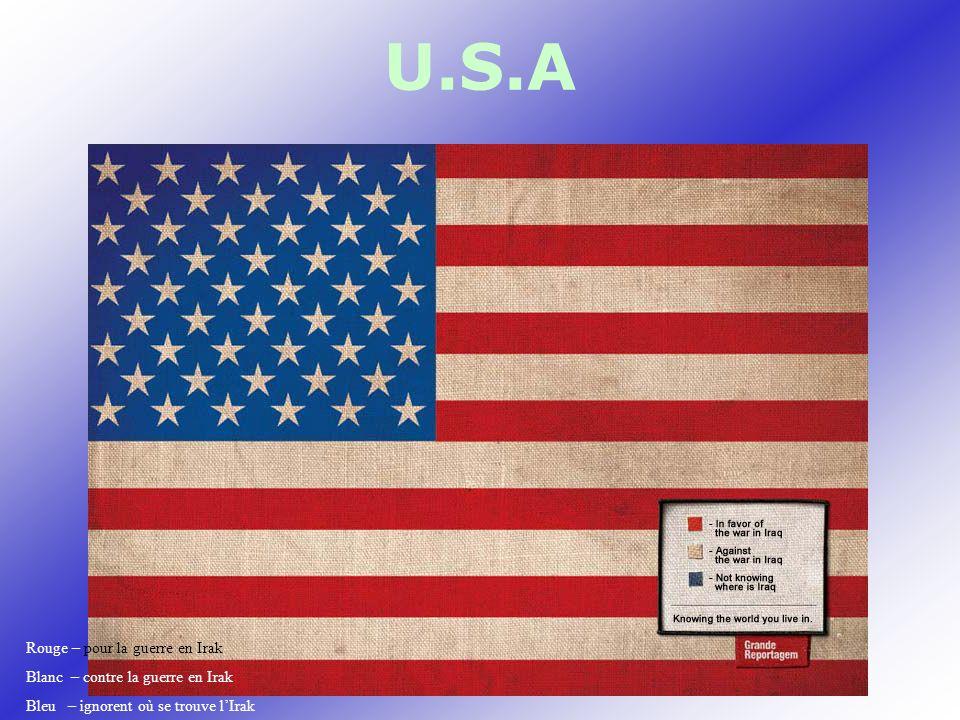 U.S.A Rouge – pour la guerre en Irak Blanc – contre la guerre en Irak