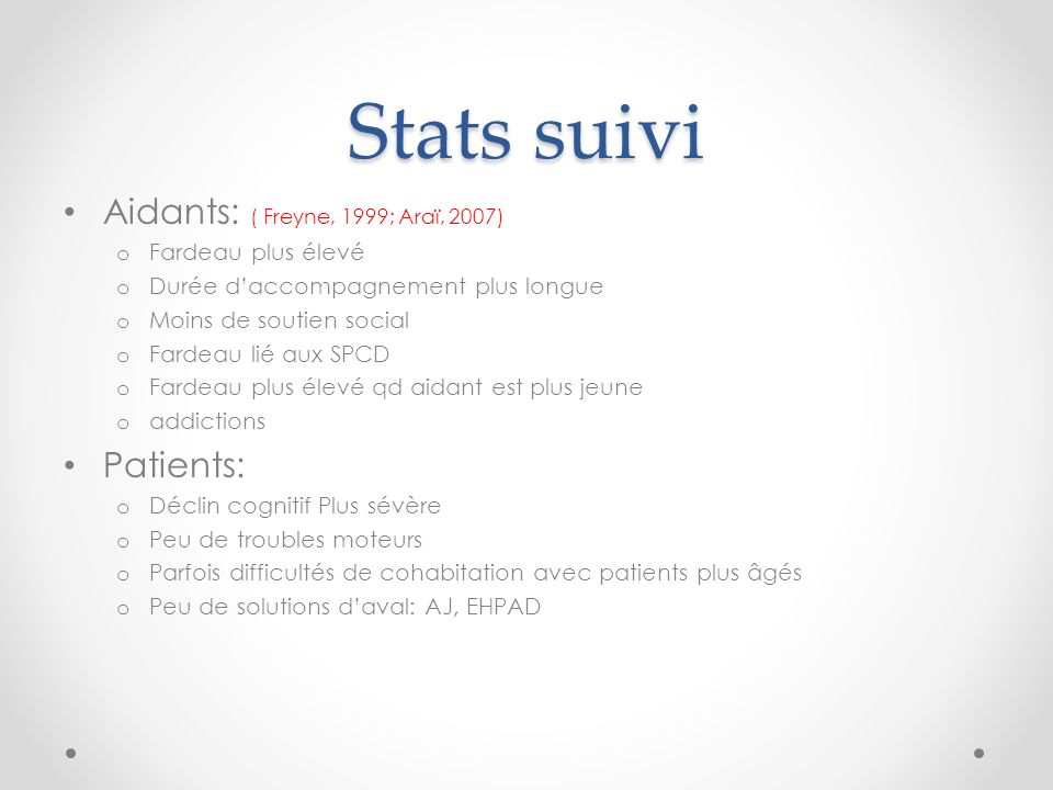Stats suivi Aidants: ( Freyne, 1999; Araï, 2007) Patients: