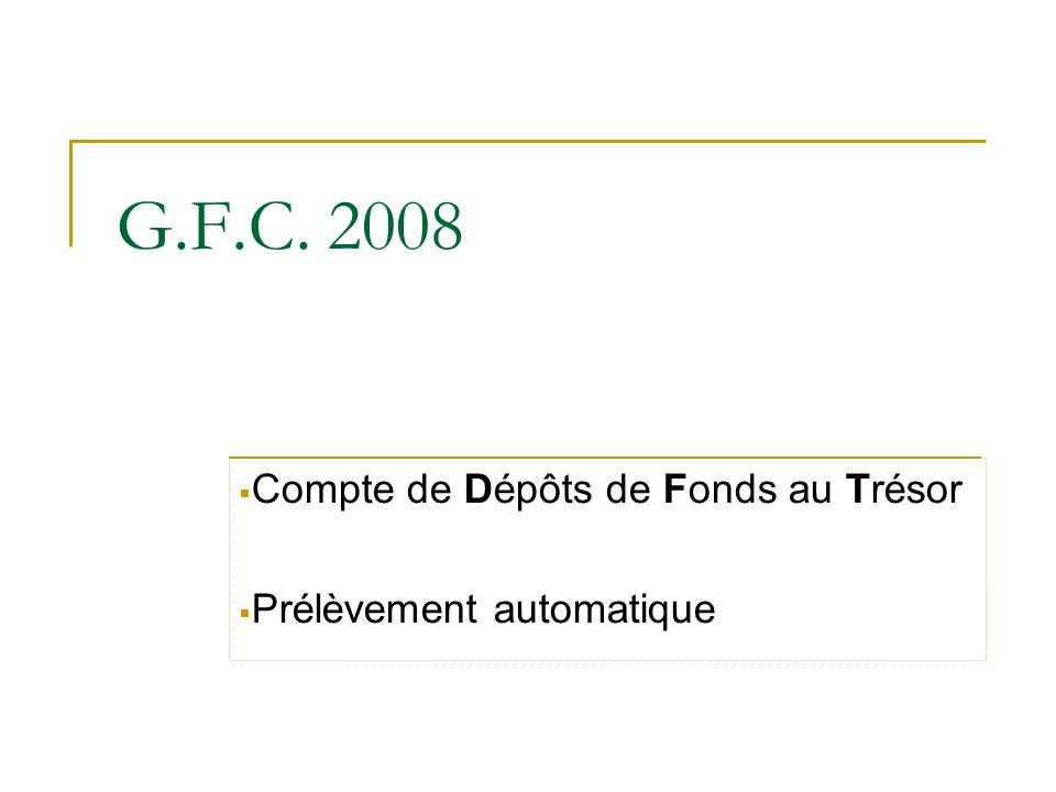 Compte de Dépôts de Fonds au Trésor Prélèvement automatique