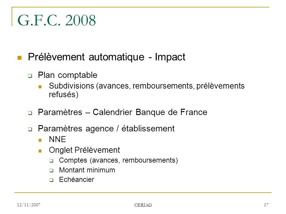 G.F.C. 2008 Prélèvement automatique - Impact Plan comptable