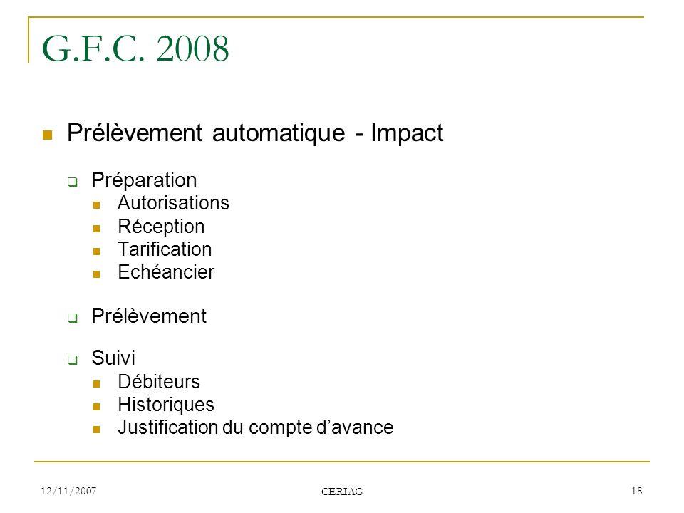 G.F.C. 2008 Prélèvement automatique - Impact Préparation Prélèvement