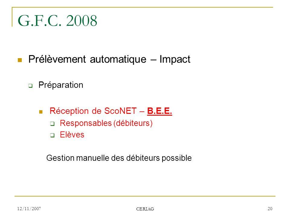 G.F.C. 2008 Prélèvement automatique – Impact Préparation