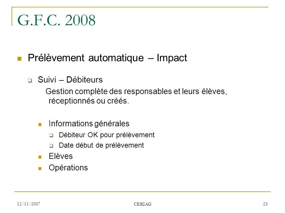 G.F.C. 2008 Prélèvement automatique – Impact Suivi – Débiteurs