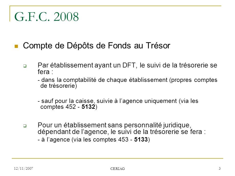 G.F.C. 2008 Compte de Dépôts de Fonds au Trésor