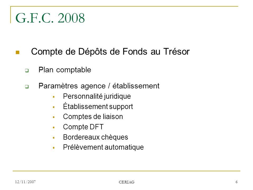 G.F.C. 2008 Compte de Dépôts de Fonds au Trésor Plan comptable