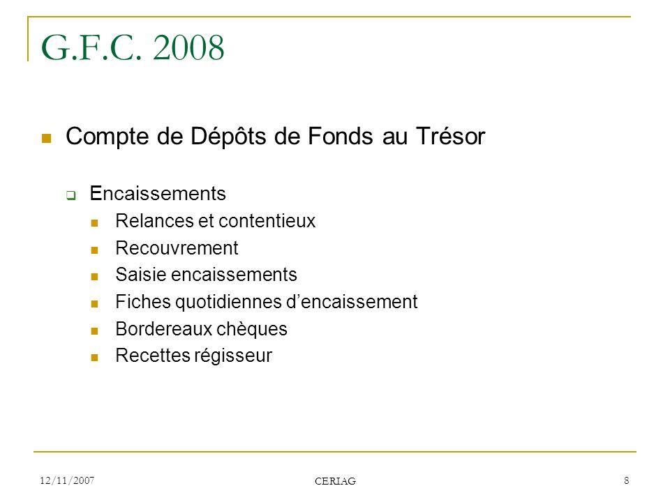 G.F.C. 2008 Compte de Dépôts de Fonds au Trésor Encaissements