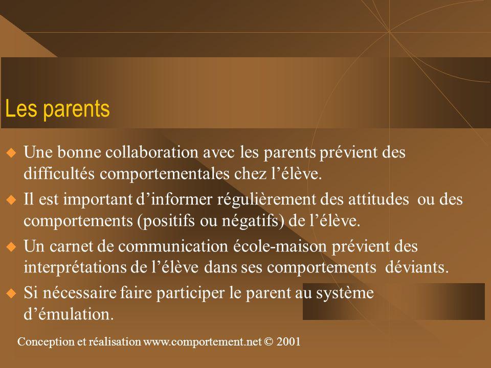 Les parents Une bonne collaboration avec les parents prévient des difficultés comportementales chez l'élève.