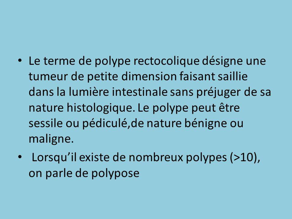 Le terme de polype rectocolique désigne une tumeur de petite dimension faisant saillie dans la lumière intestinale sans préjuger de sa nature histologique. Le polype peut être sessile ou pédiculé,de nature bénigne ou maligne.