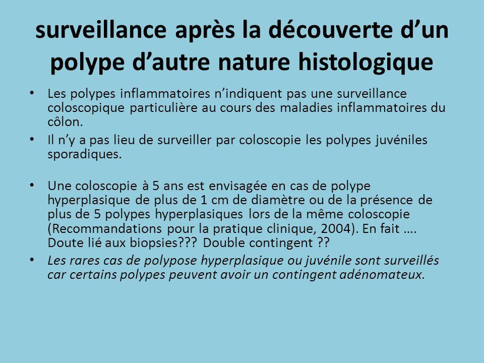 surveillance après la découverte d'un polype d'autre nature histologique