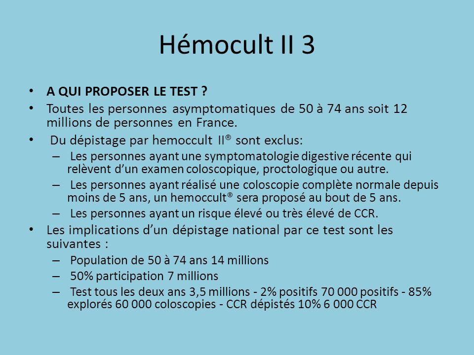 Hémocult II 3 A QUI PROPOSER LE TEST