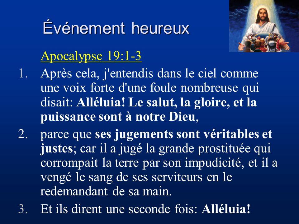 Événement heureux Apocalypse 19:1-3