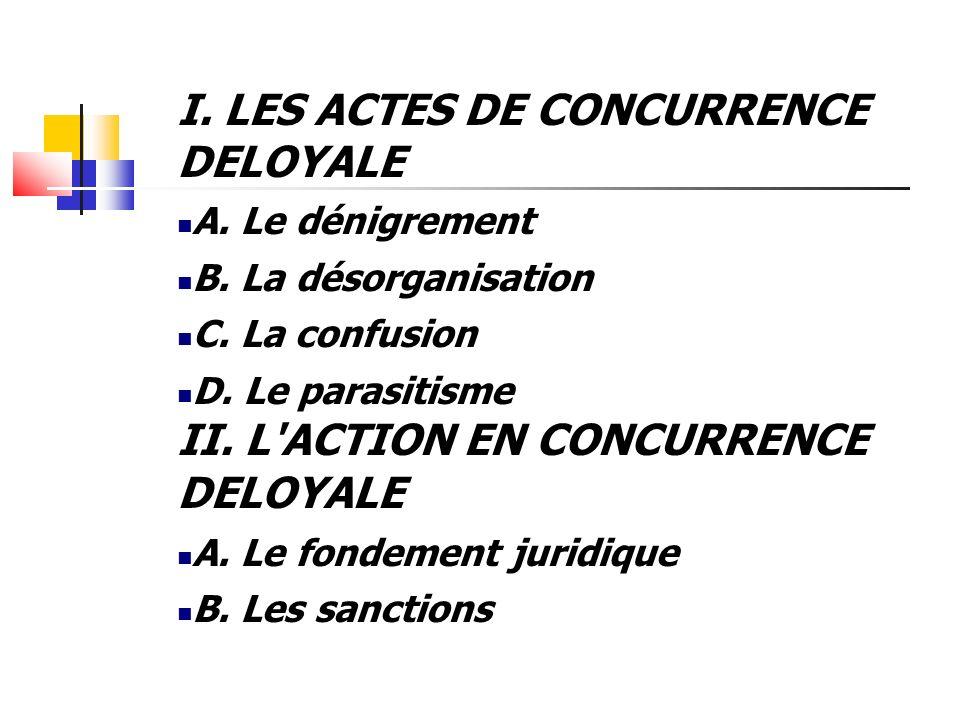 I. LES ACTES DE CONCURRENCE DELOYALE