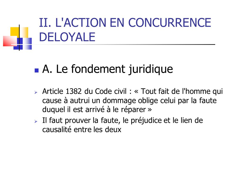 II. L ACTION EN CONCURRENCE DELOYALE