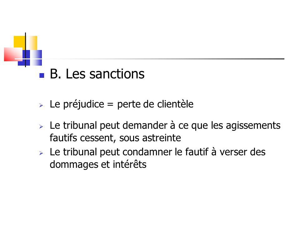 B. Les sanctions Le préjudice = perte de clientèle