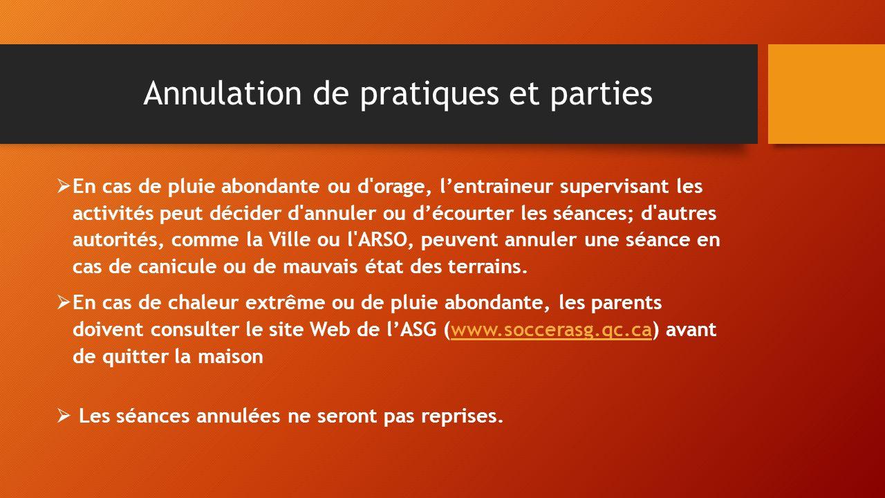 Annulation de pratiques et parties