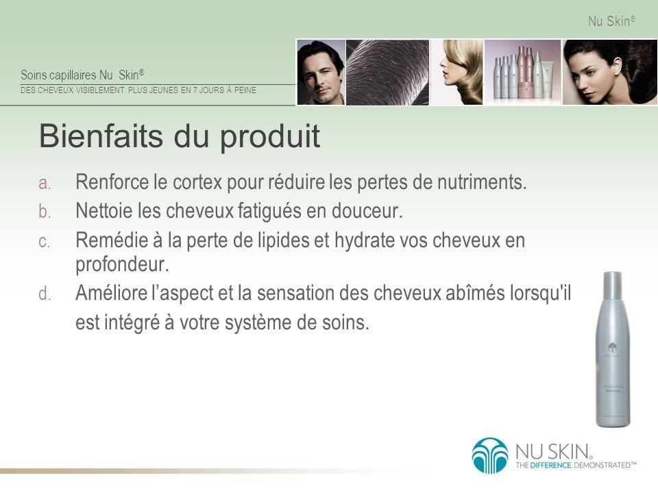 Bienfaits du produit Renforce le cortex pour réduire les pertes de nutriments. Nettoie les cheveux fatigués en douceur.