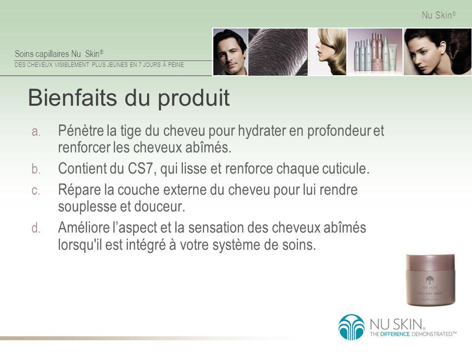 Bienfaits du produit Pénètre la tige du cheveu pour hydrater en profondeur et renforcer les cheveux abîmés.