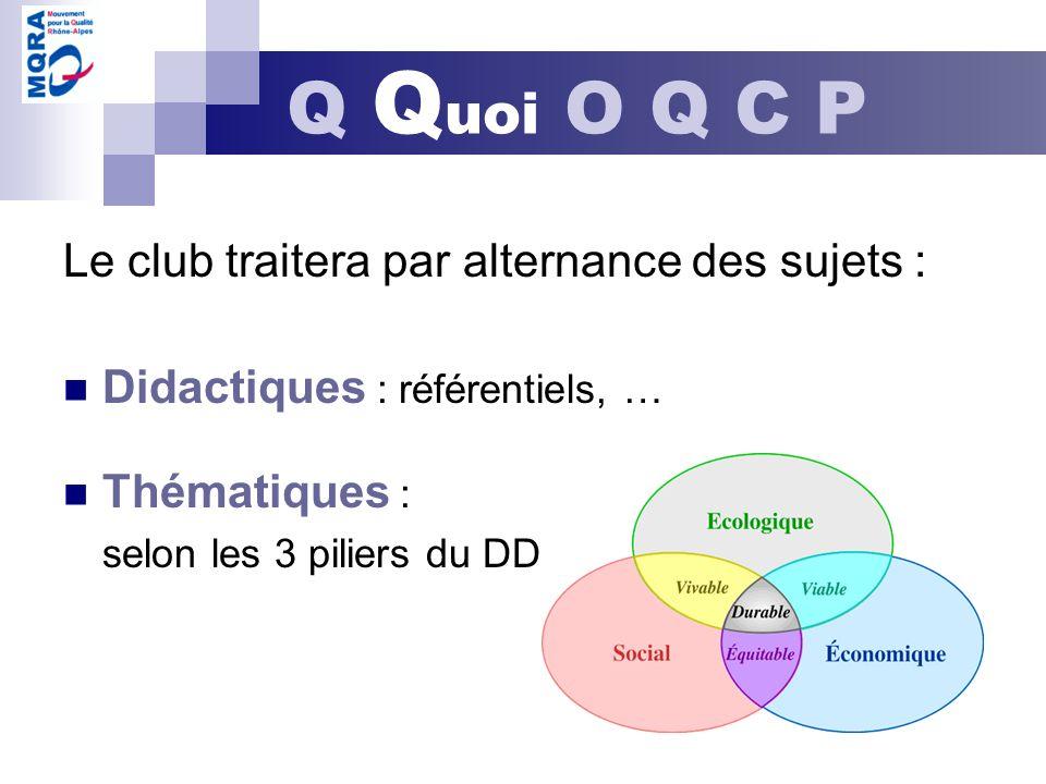 Q Quoi O Q C P Le club traitera par alternance des sujets :