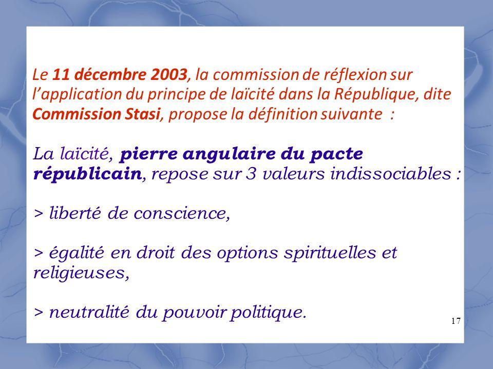 Le 11 décembre 2003, la commission de réflexion sur l'application du principe de laïcité dans la République, dite Commission Stasi, propose la définition suivante : La laïcité, pierre angulaire du pacte républicain, repose sur 3 valeurs indissociables : > liberté de conscience, > égalité en droit des options spirituelles et religieuses, > neutralité du pouvoir politique.
