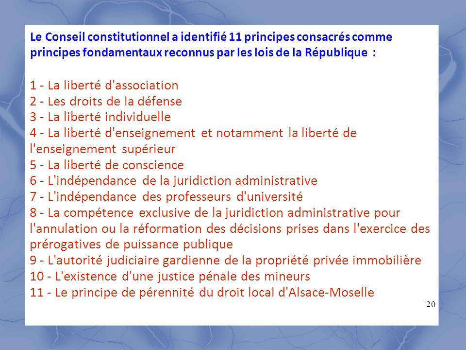 Le Conseil constitutionnel a identifié 11 principes consacrés comme principes fondamentaux reconnus par les lois de la République :